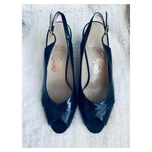 Salvatore Ferragamo peep toe sling back heels 8